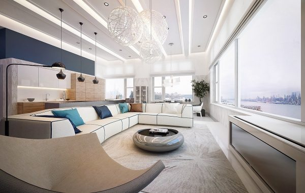 The ceiling was not left out of the design plan with panels creating an effect of elongation those windows continue to wrap around this room into the