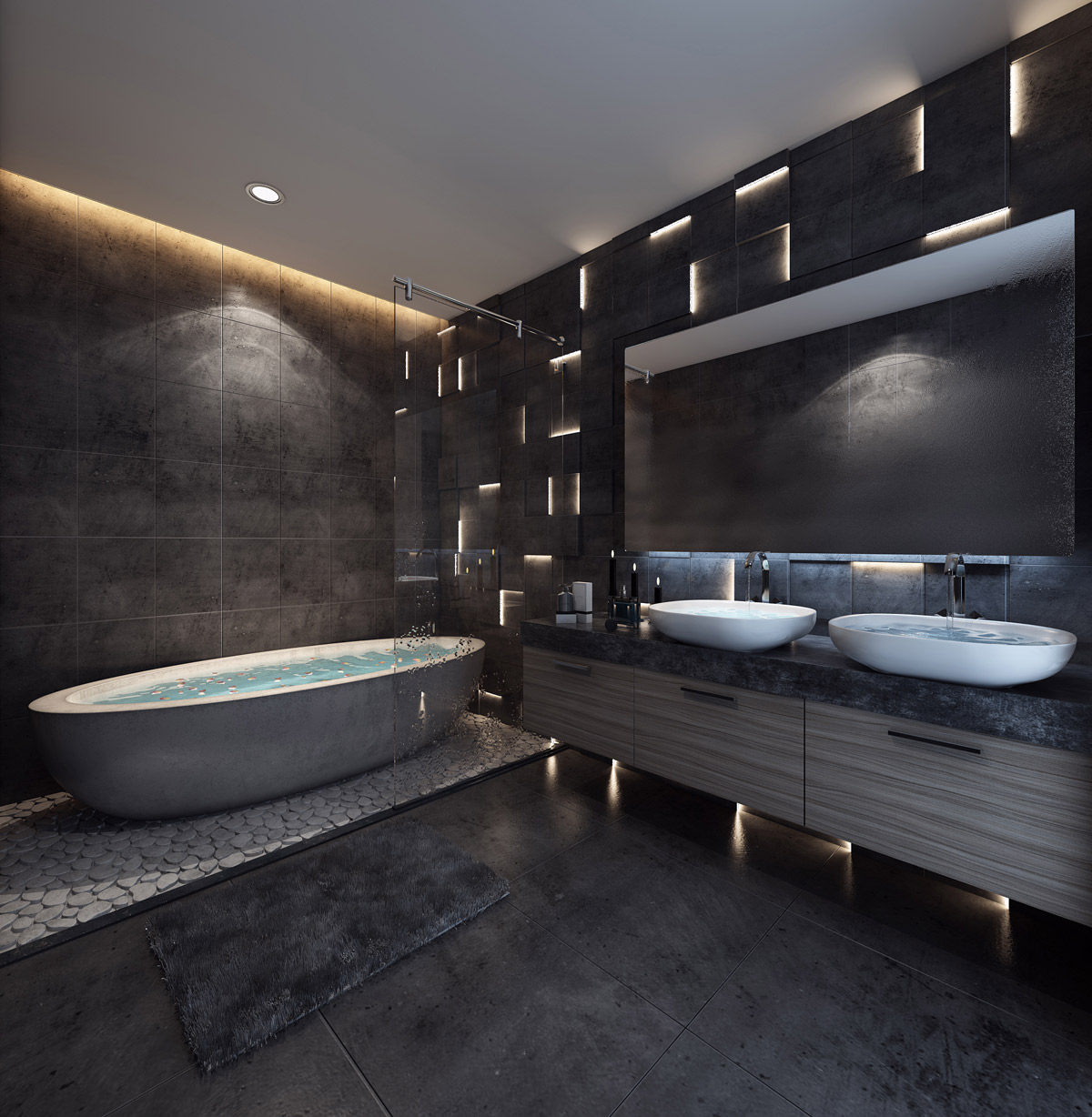 This Bathroom Is Decked Out In All Black Tile And Concrete The Walls