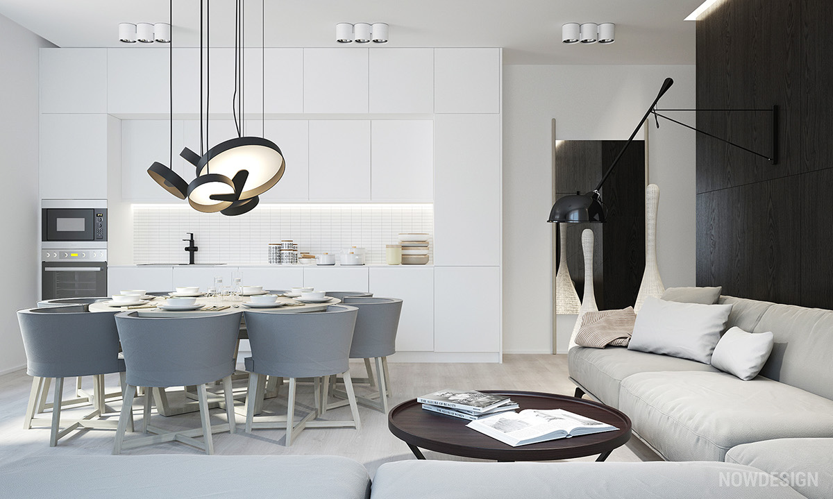 White And Grey Kitchen Living Area - 30 modern white kitchens that exemplify refinement