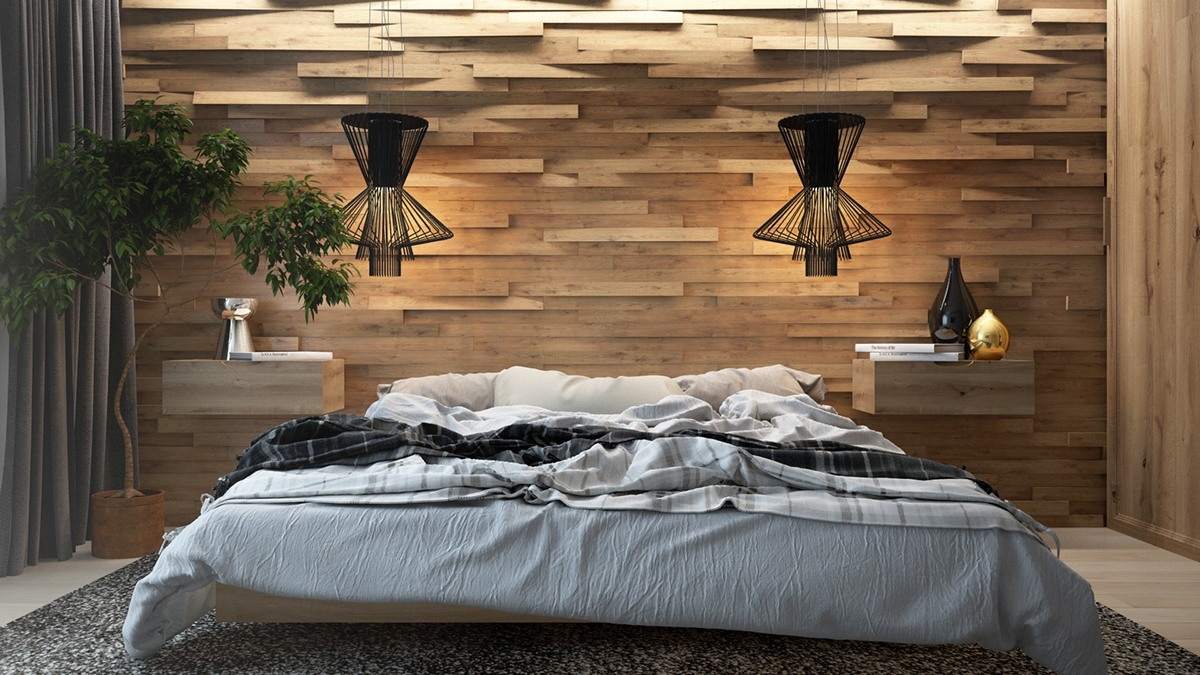 Wooden wall designs 30 striking bedrooms that use the for Decoration chambre homme