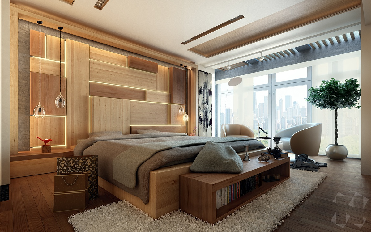 Wooden wall designs 30 striking bedrooms that use the for Modern wooden bedroom designs