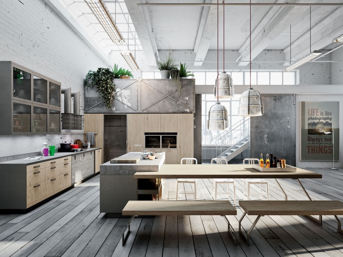 32 industrial style kitchens that will make you fall in love for Industrial style homes