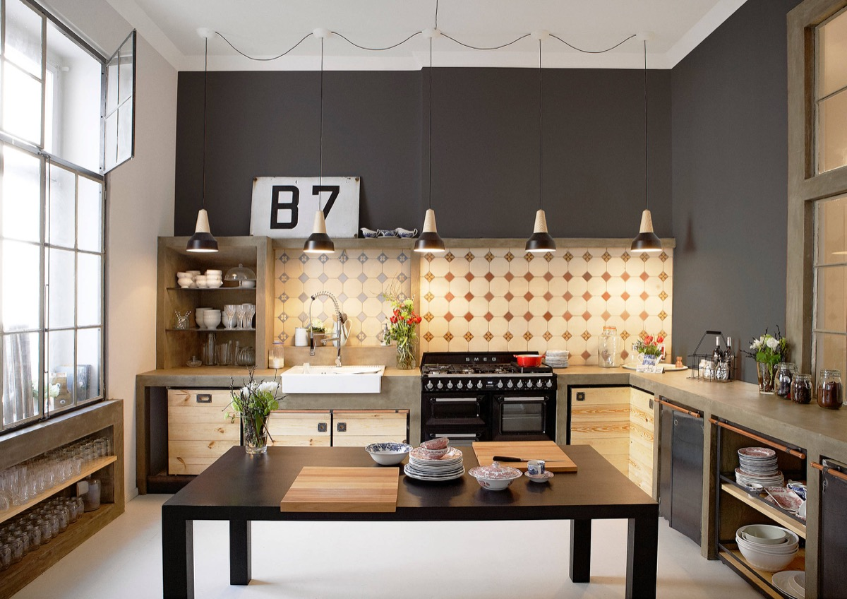 32 industrial style kitchens that will make you fall in love. Black Bedroom Furniture Sets. Home Design Ideas