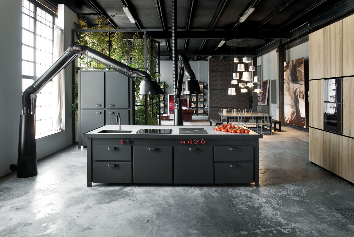 32 industrial style kitchens that will make you fall in love - Mobiliario vintage industrial ...