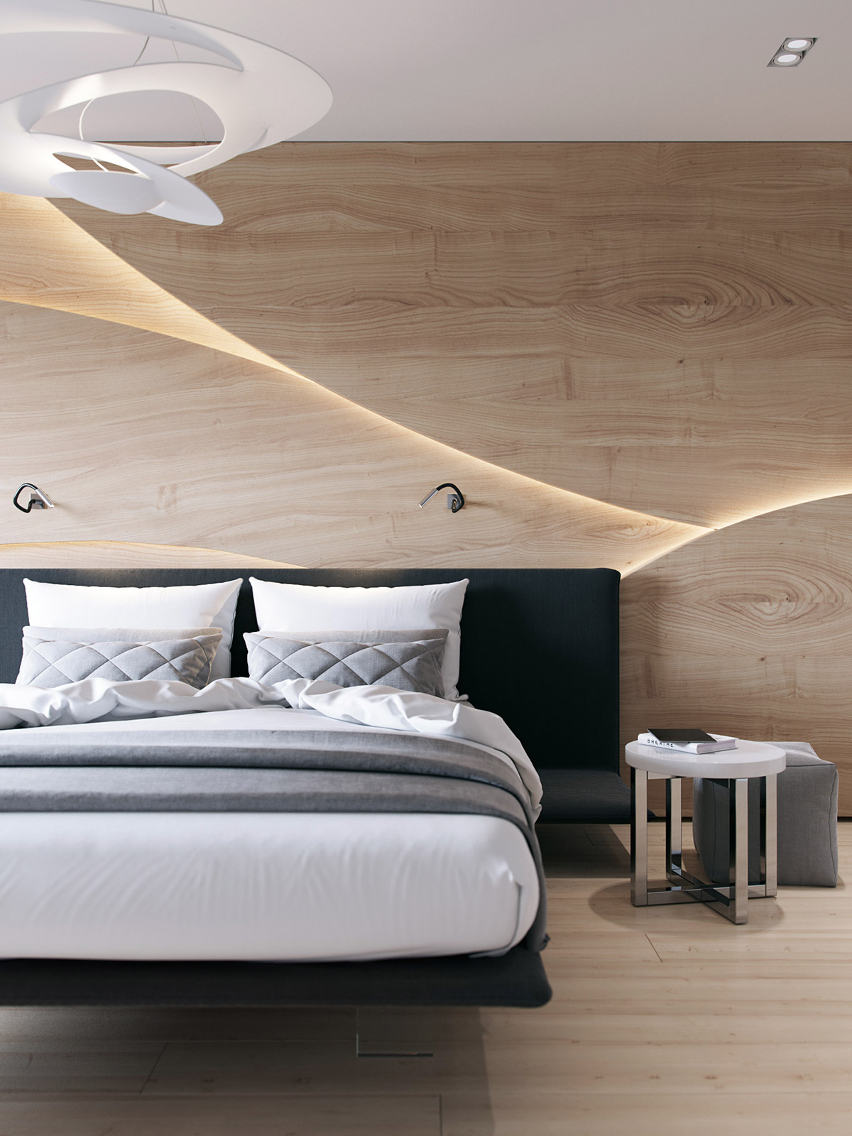 Wooden wall designs 30 striking bedrooms that use the for Wooden bed interior design