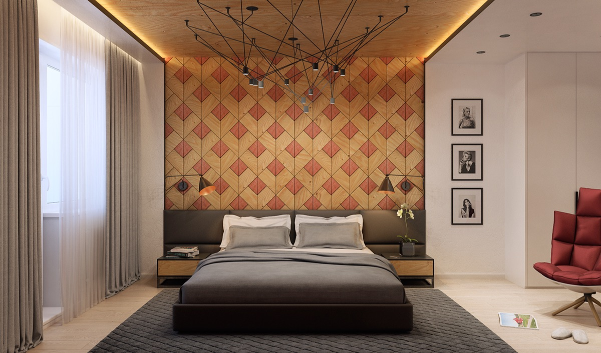 Wooden wall designs 30 striking bedrooms that use the for Wood wallpaper bedroom