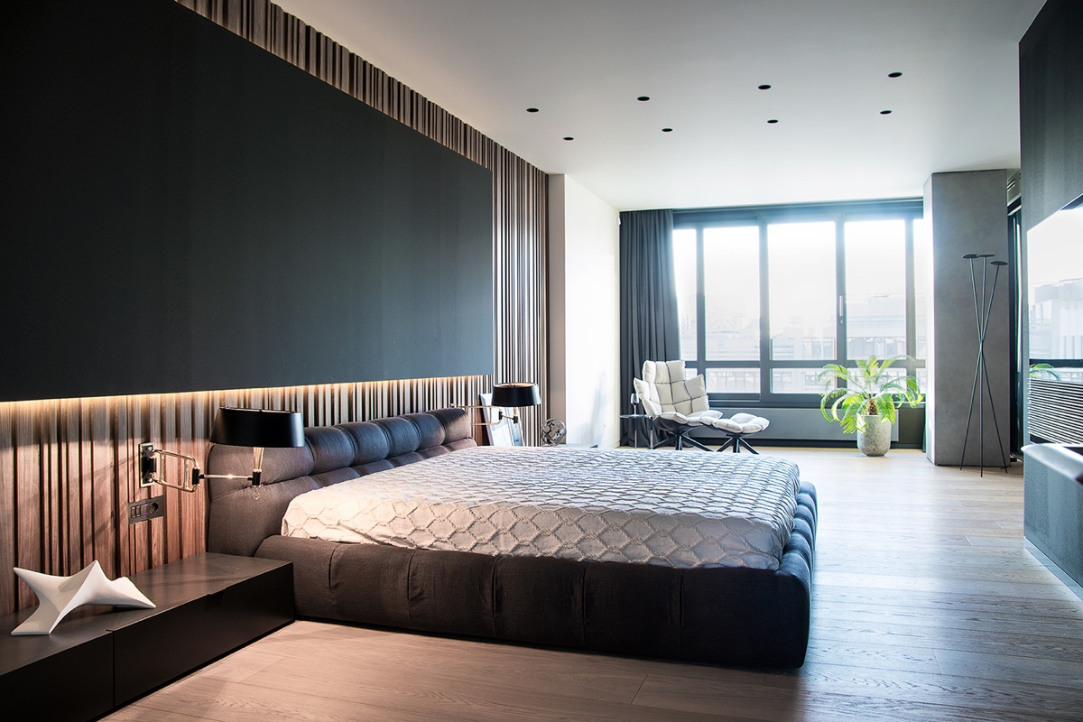 Bedroom Platform Bed Window - Modern perfection in kyiv apartment