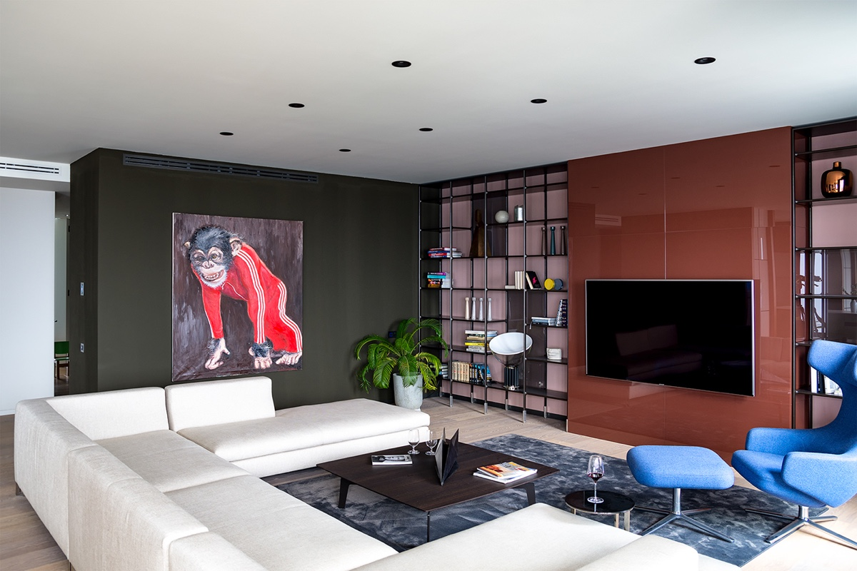 Living Area Monkey Art - Modern perfection in kyiv apartment