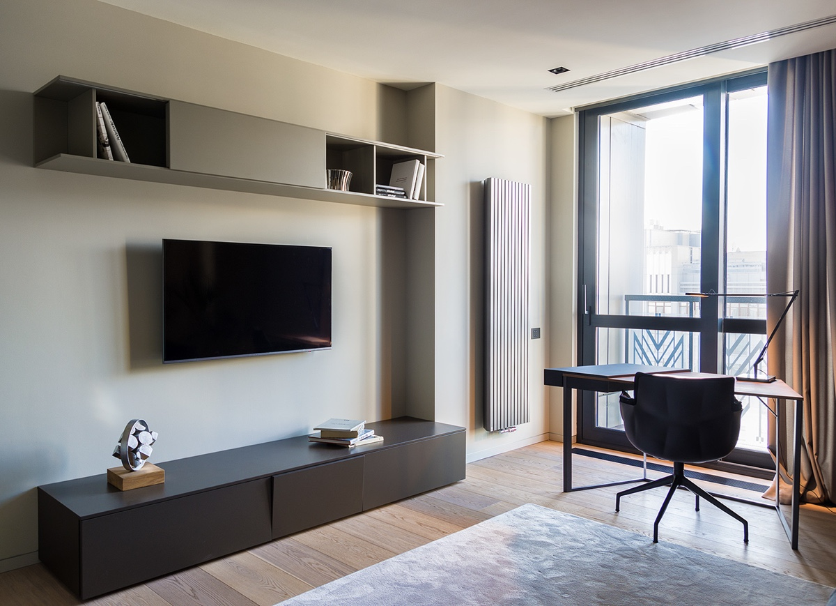Office Space TV Wall - Modern perfection in kyiv apartment
