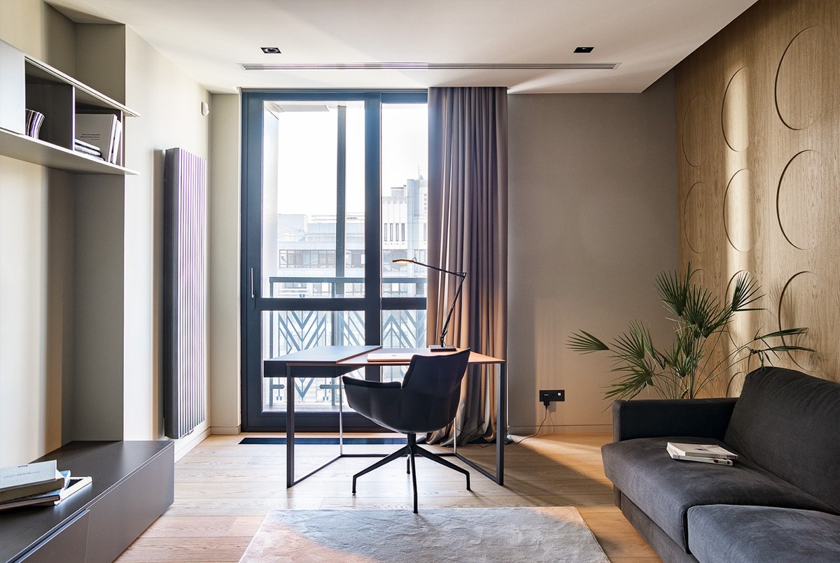 Office Space Facing Desk And Window - Modern perfection in kyiv apartment