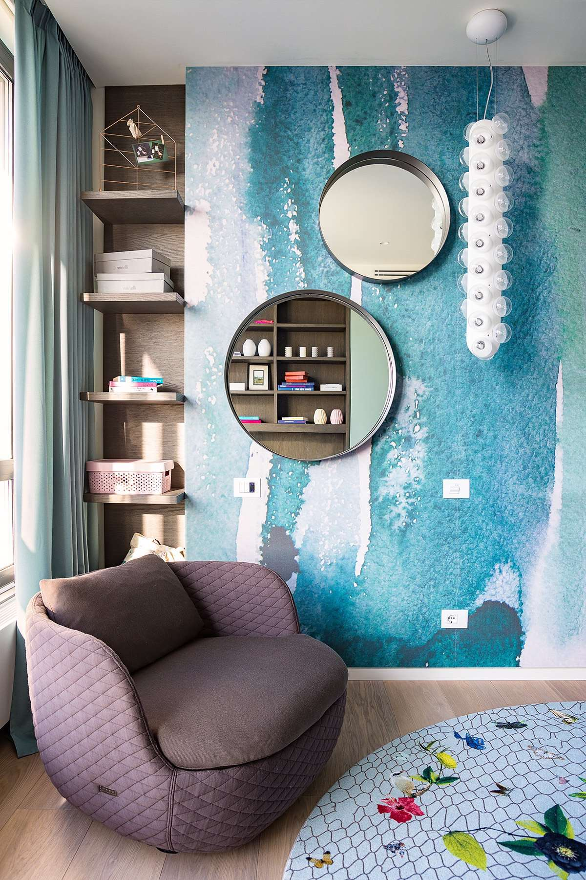 Whimsical Wall Round Mirrors - Modern perfection in kyiv apartment