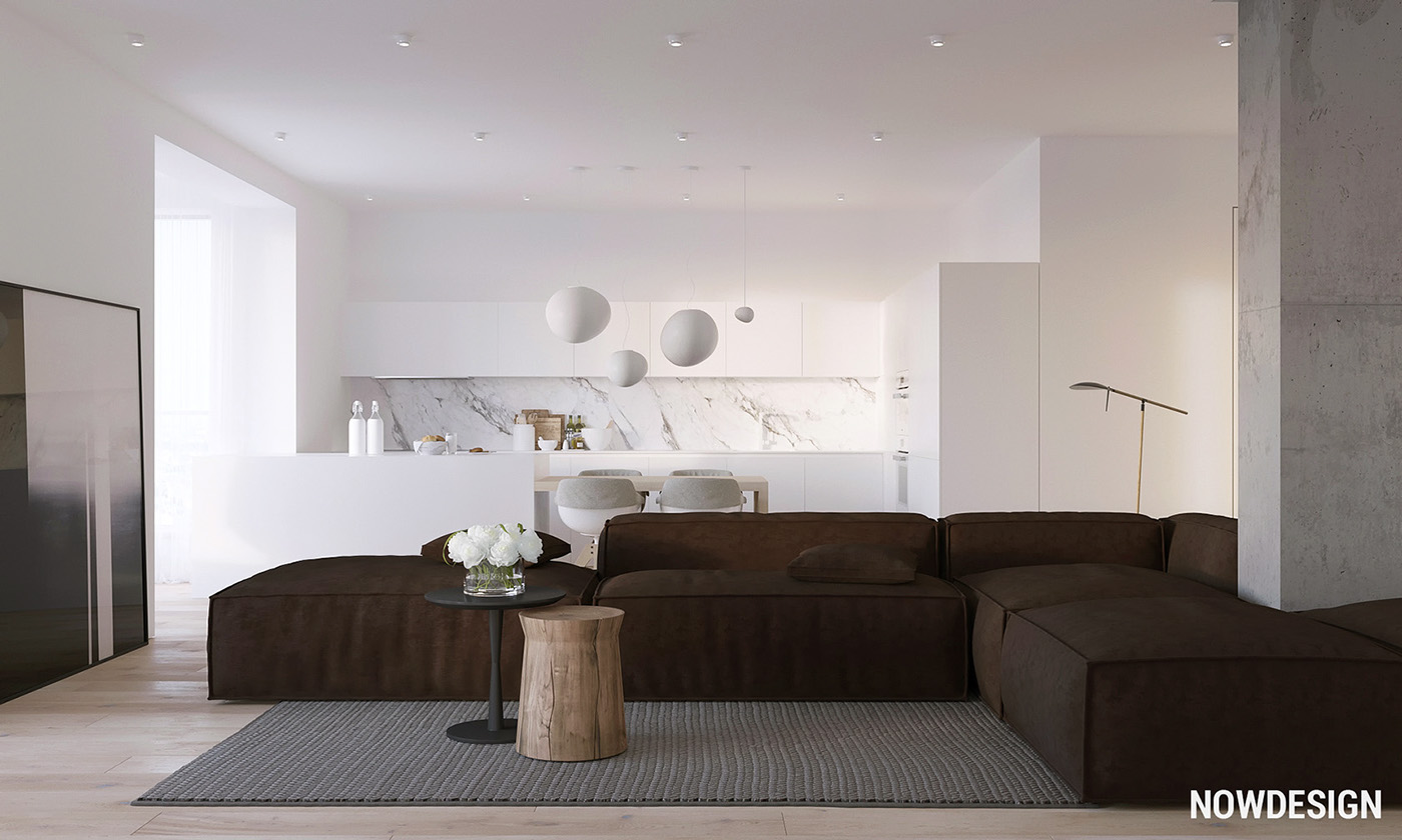 Apartment Open Plan - 3 modern minimalist apartments for young families