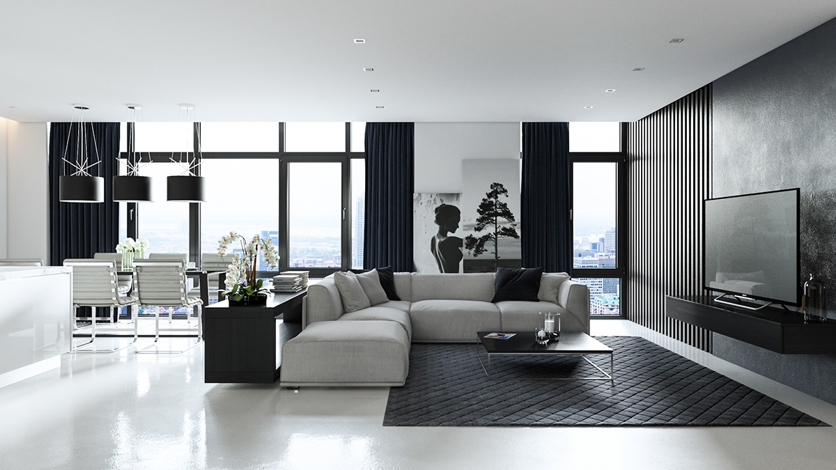 30 black white living rooms that work their monochrome magic - Awe striking studio apartment ideas with open floor plan ...