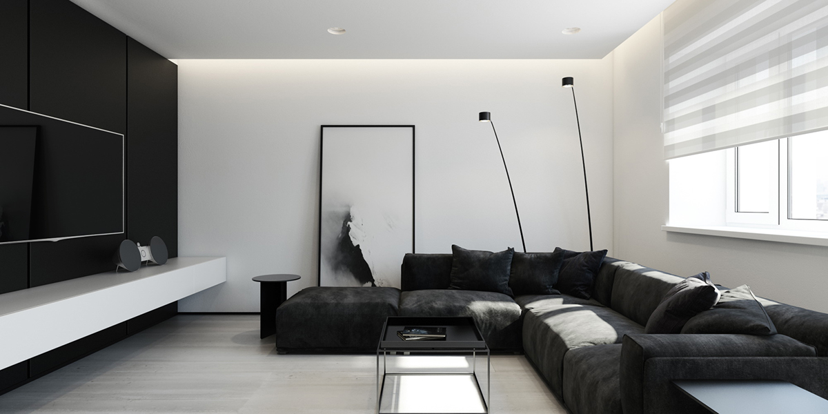 black and white interior design l shaped couch simple white