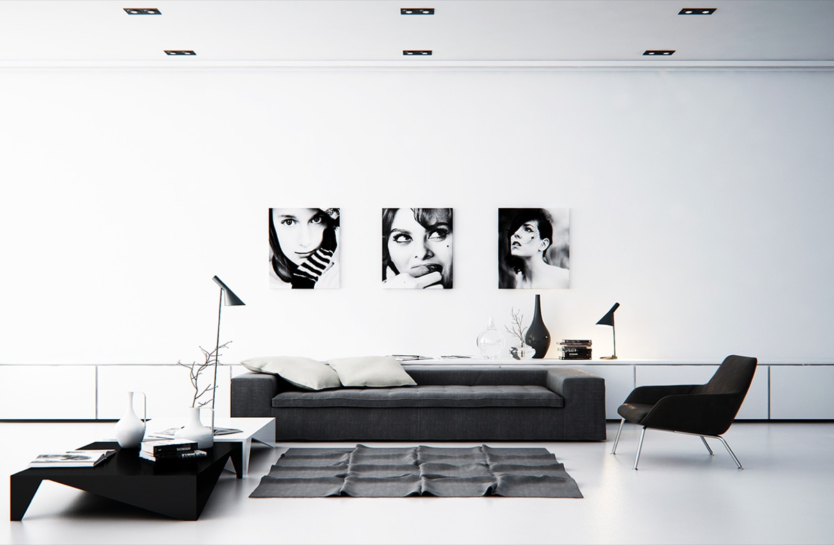 black and white living room model portraits geometric coffe table