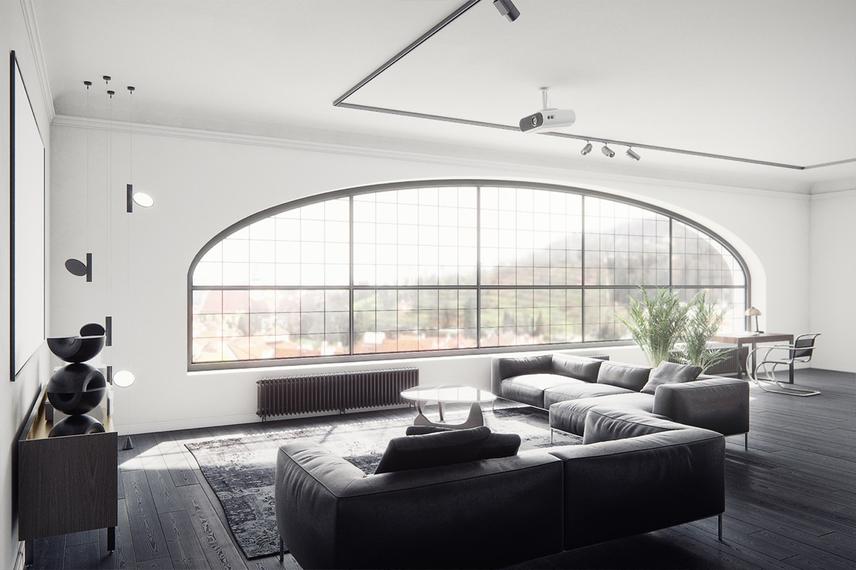 Black Living Room Furniture  Large Shaped Window Black Leather Couches Geometric Decor Large Mirror Study Area Indoor Plants Wooden Floor - 30 black white living rooms that work their monochrome magic