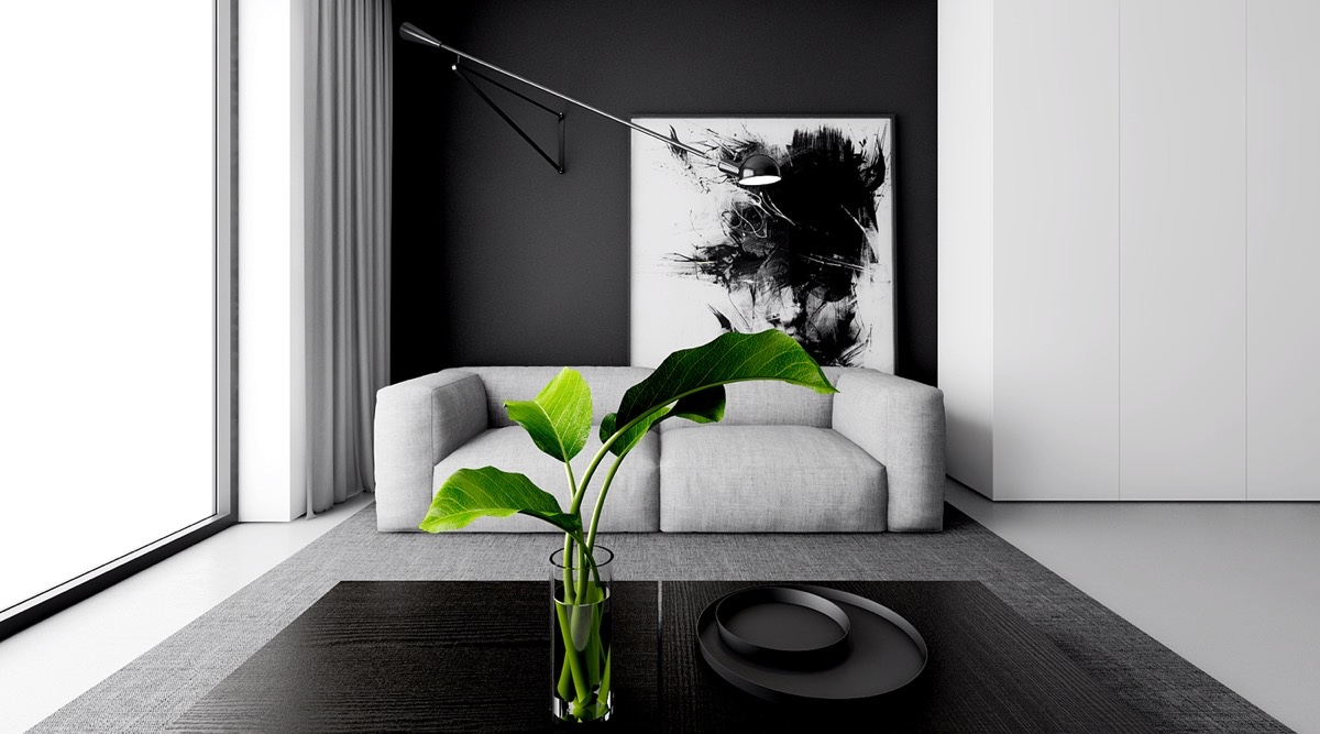 White Grey Black Living Room Indoor Plants Glass End Tables Celing