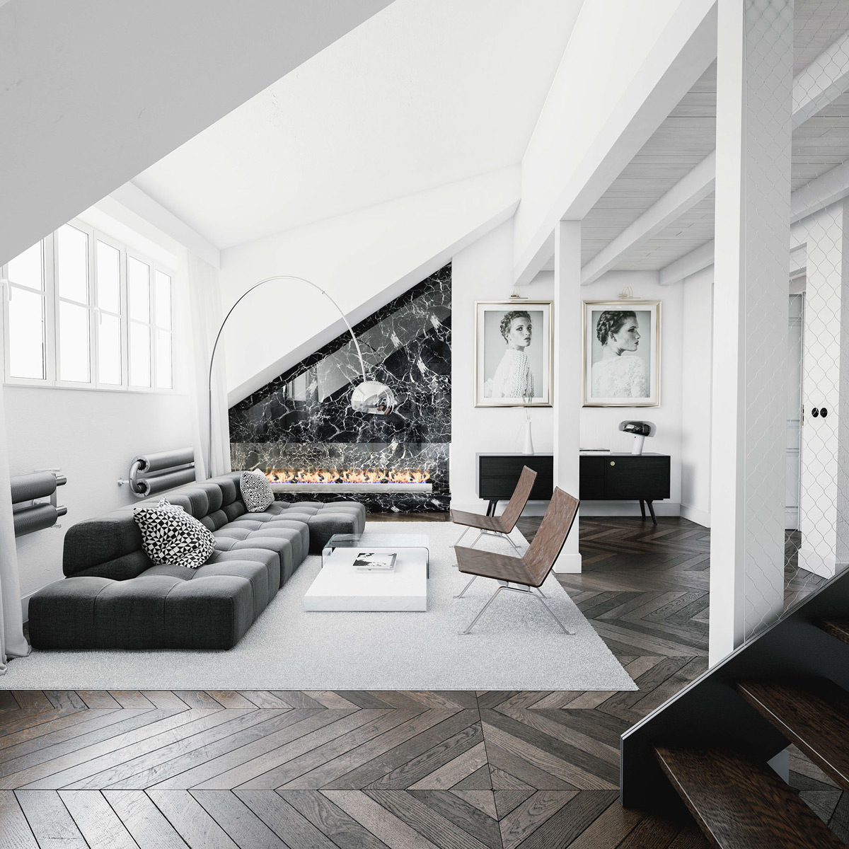 30 black white living rooms that work their monochrome magic for Monochrome design ideas