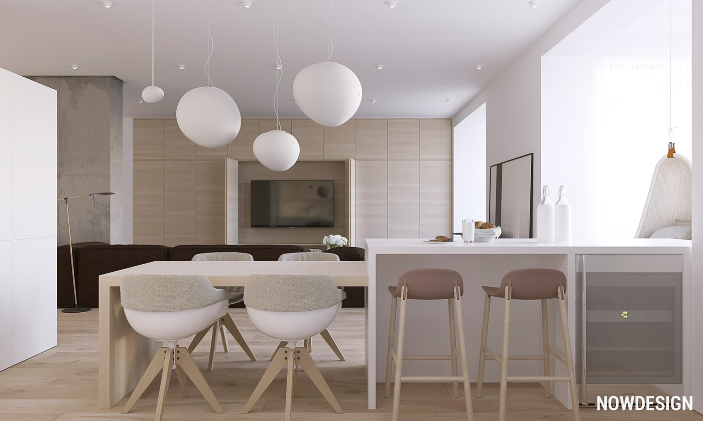 Kitchen Bar Island - 3 modern minimalist apartments for young families