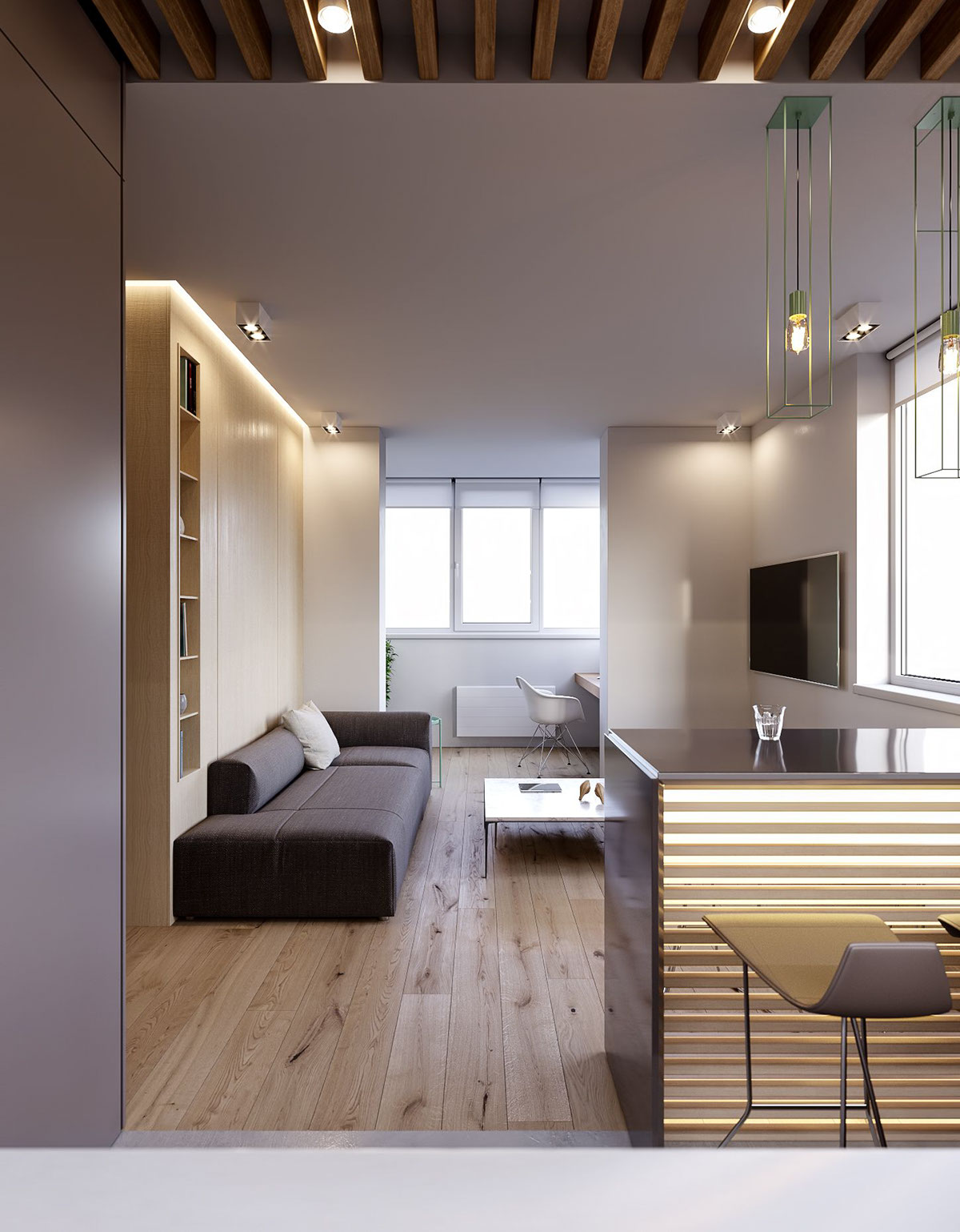 Kitchen Island Embellishments Wooden Flooring - 3 modern minimalist apartments for young families