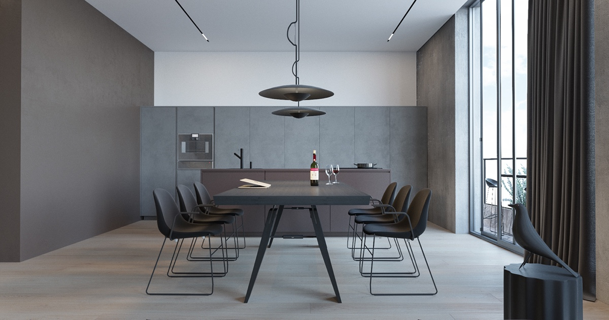 Light Fixture Dining Room - 3 modern minimalist apartments for young families
