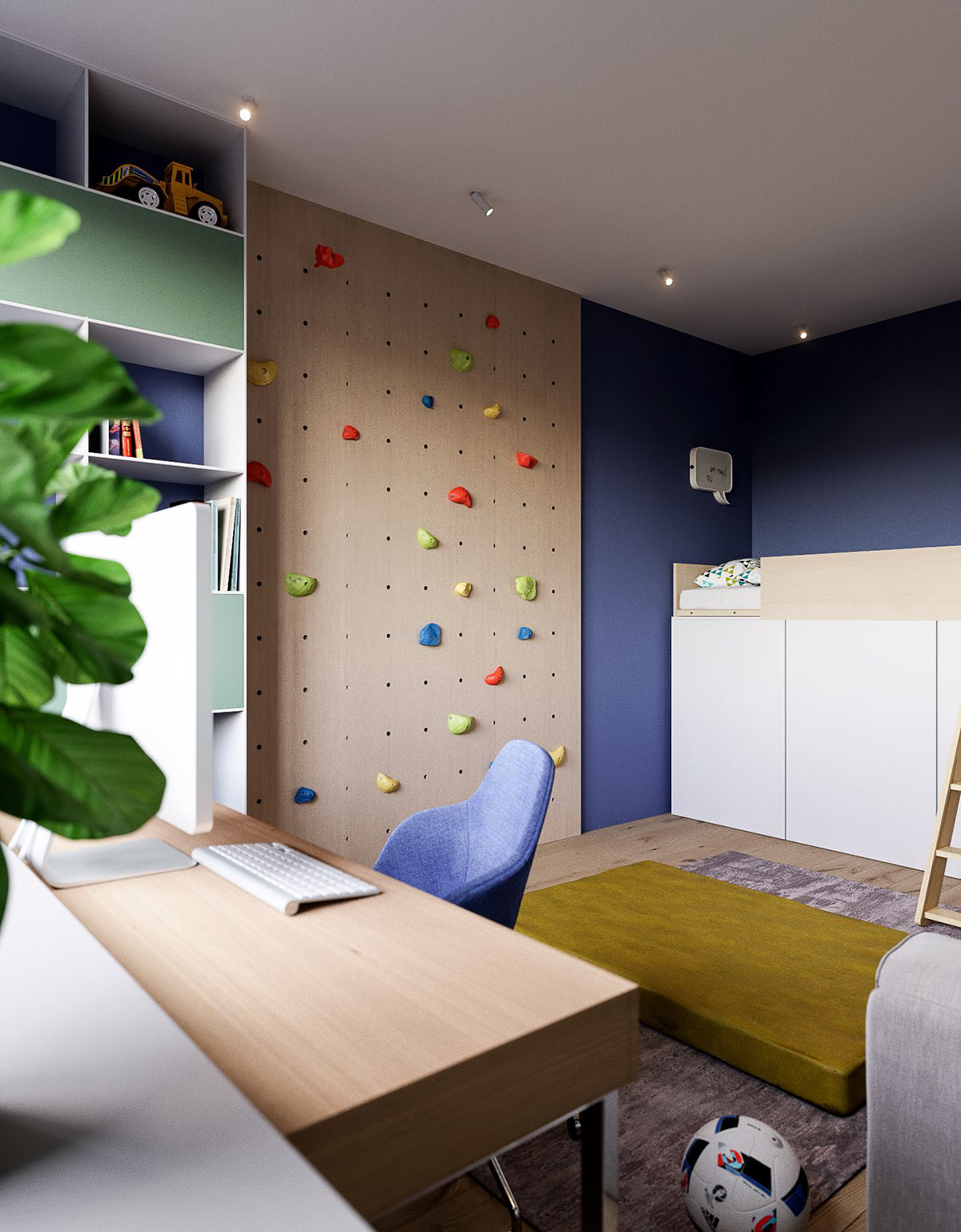 Little Boy Bedroom Rock Climbing Wall   3 Modern Minimalist Apartments For  Young Families