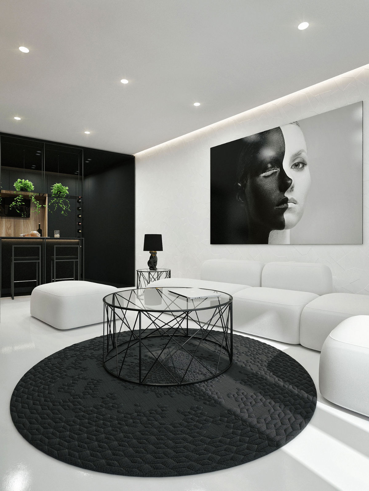 Living Room Ideas Model Photograph Round Rug White Sofa Barstools Hanging Plants Table Lamp Glass Coffee Table Ceiling Lights - 30 black white living rooms that work their monochrome magic