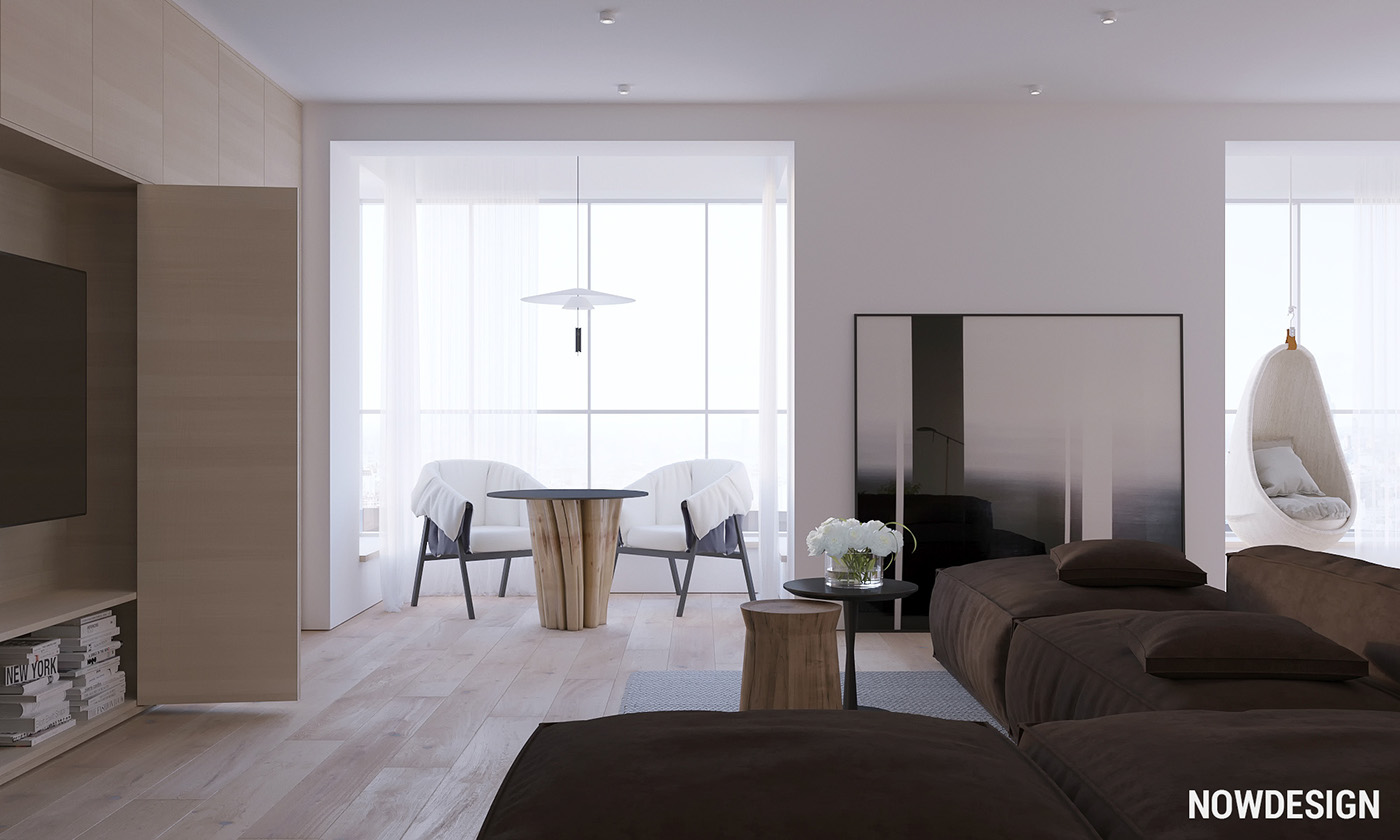 Living Room Minimalist - 3 modern minimalist apartments for young families