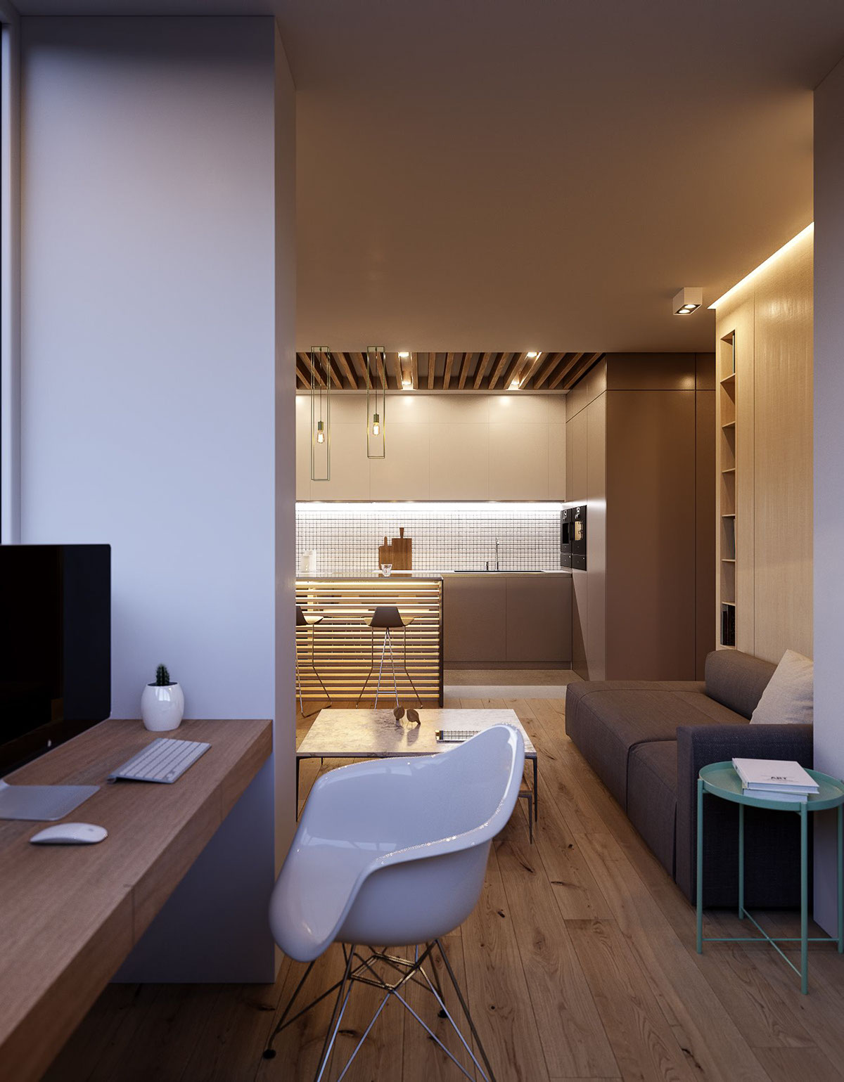 Living Room Study Area - 3 modern minimalist apartments for young families