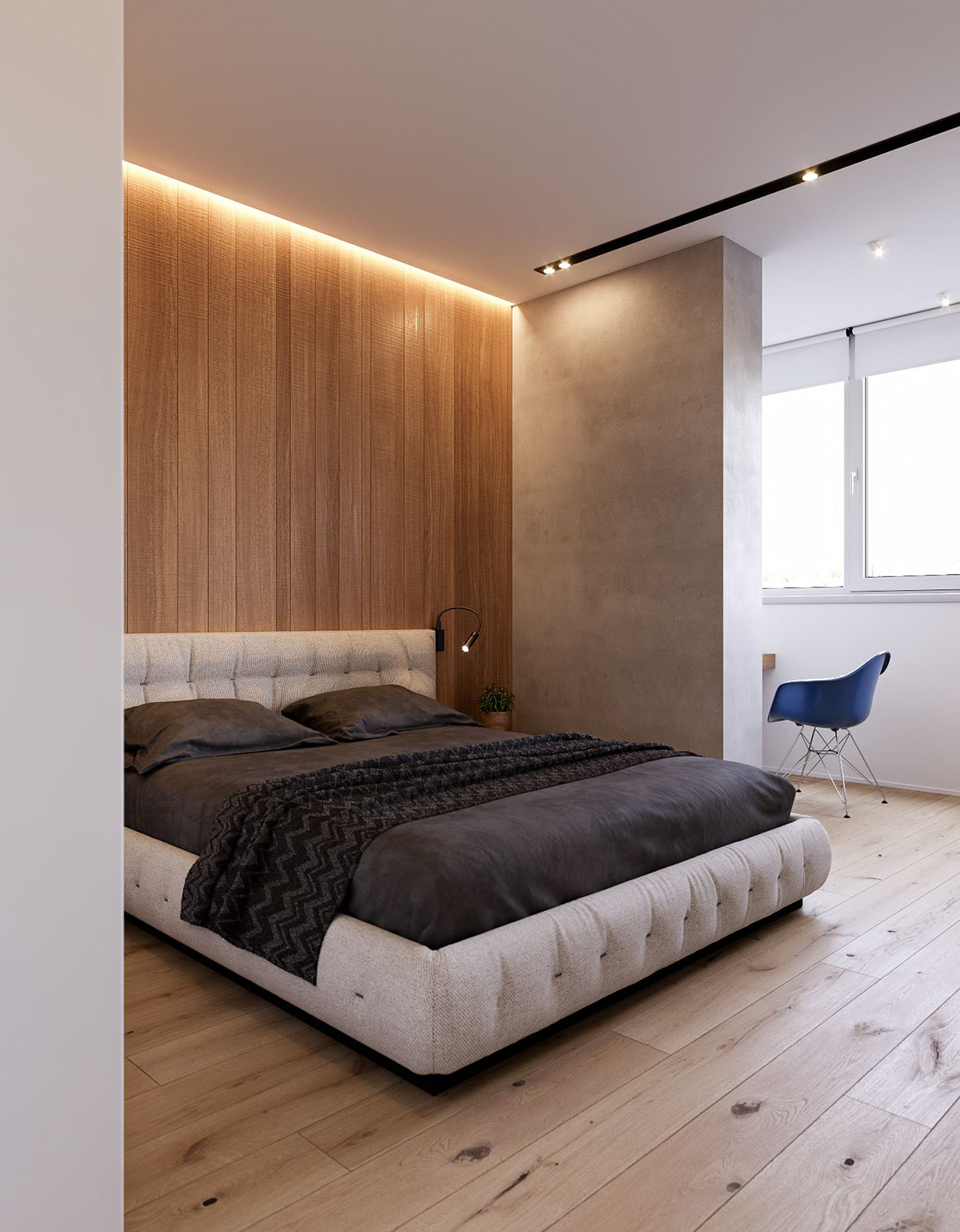 Main Bedroom Monochromatic - 3 modern minimalist apartments for young families