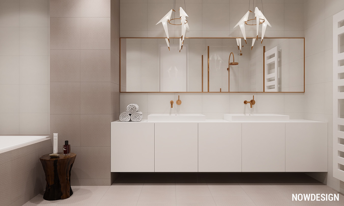 Master Bathroom With Organic Elements - 3 modern minimalist apartments for young families