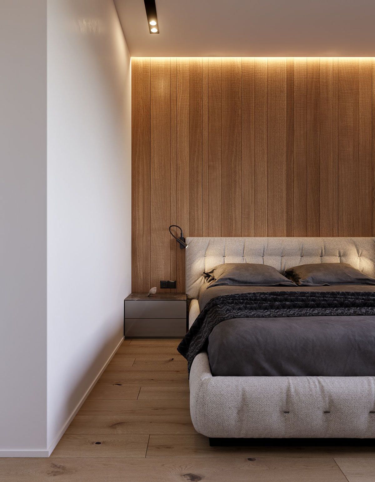 Master Bedroom Bedside Table - 3 modern minimalist apartments for young families
