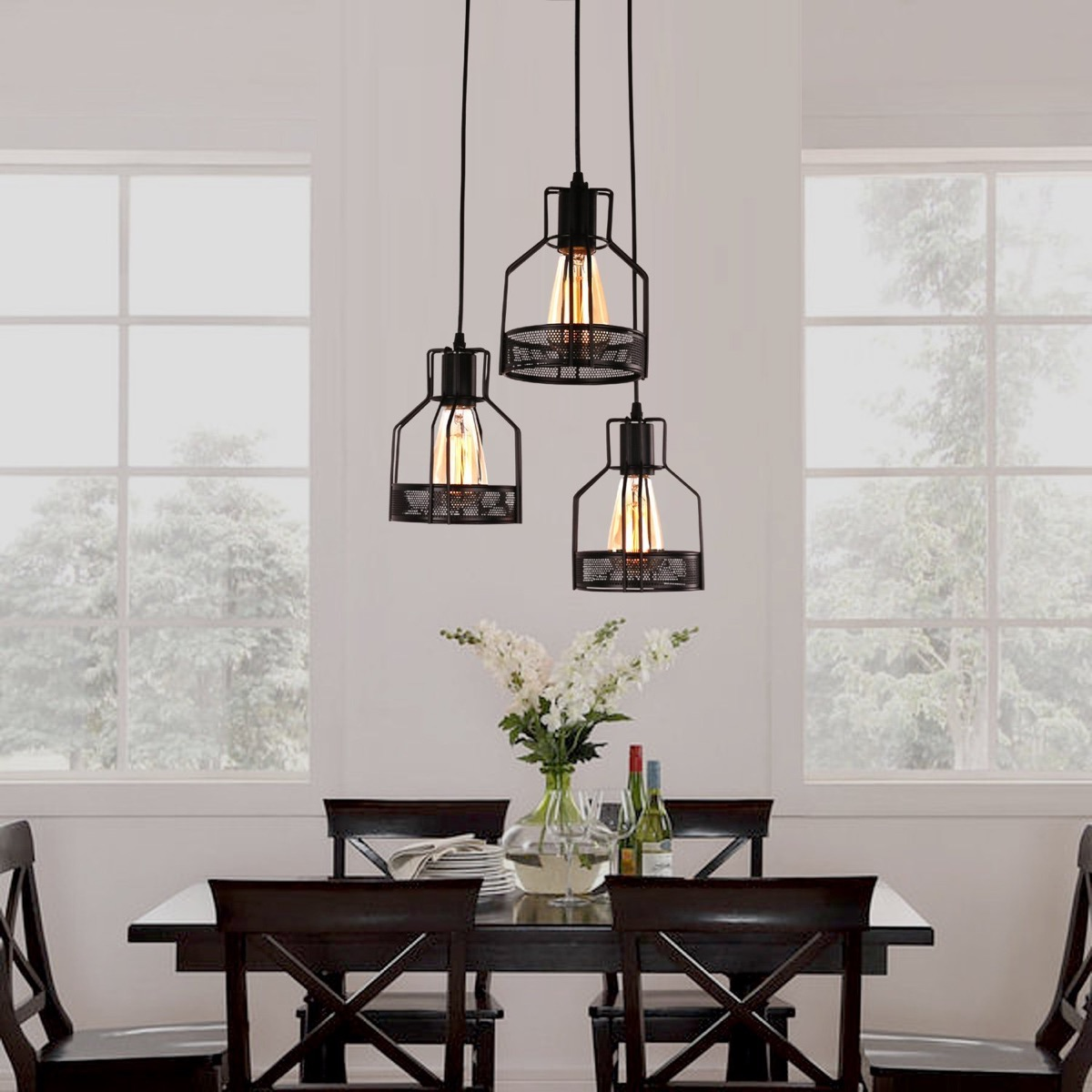 Dining Room Hanging Light Fixtures Industrial Dining Pendants This Set Of Three Cages Come With A Two
