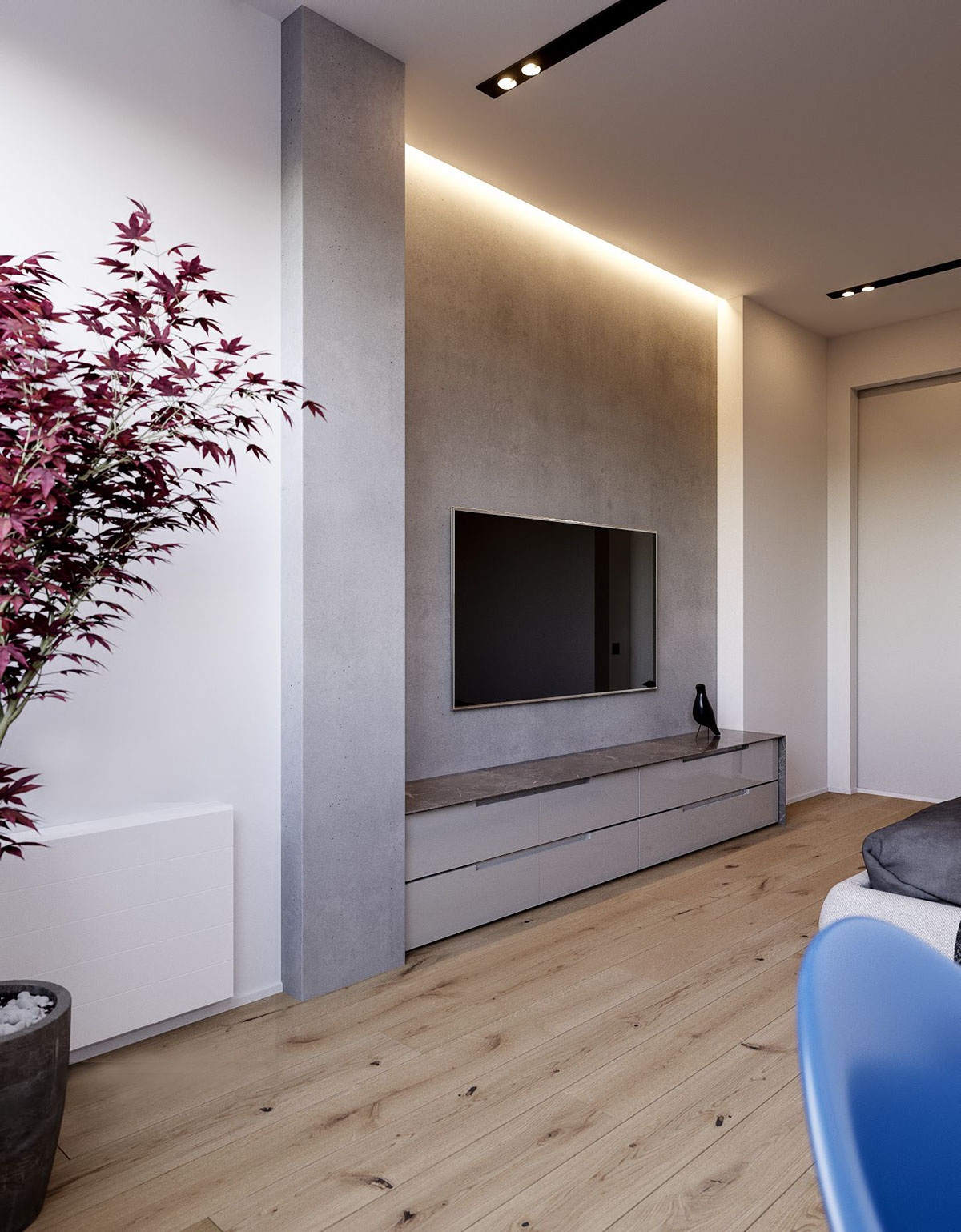 Minimalist Entertainment Area - 3 modern minimalist apartments for young families