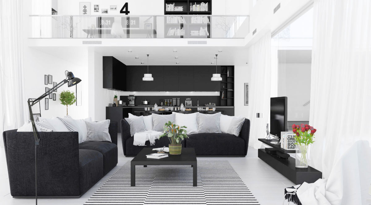 30 black white living rooms that work their monochrome magic Red black and white living room