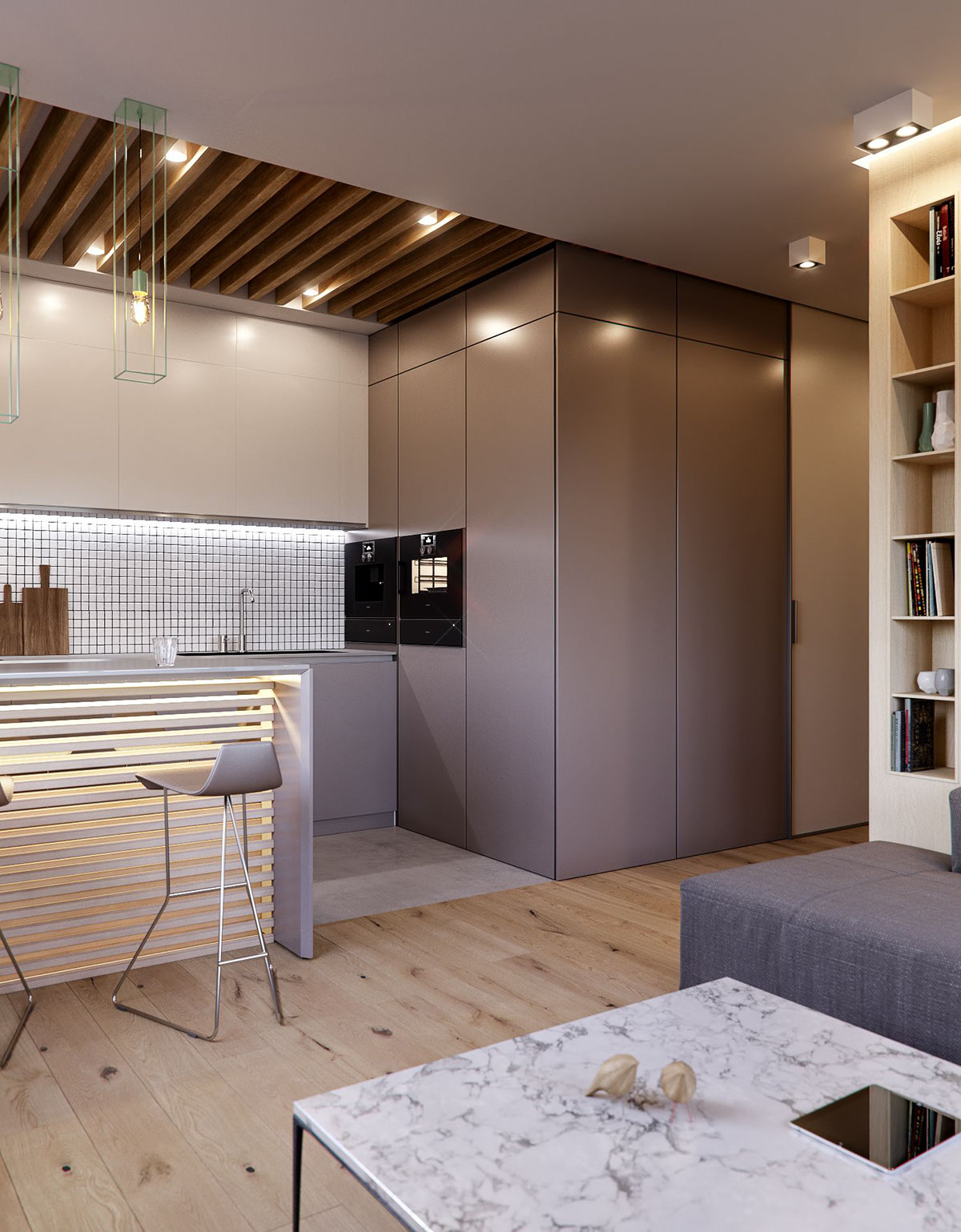 Modern Kitchen - 3 modern minimalist apartments for young families