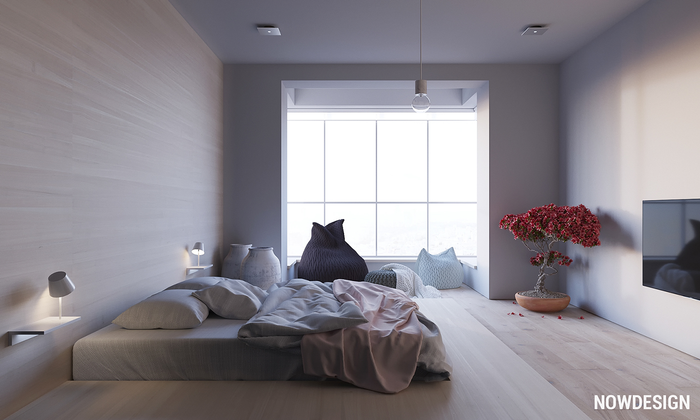 Organic Master Bedroom - 3 modern minimalist apartments for young families