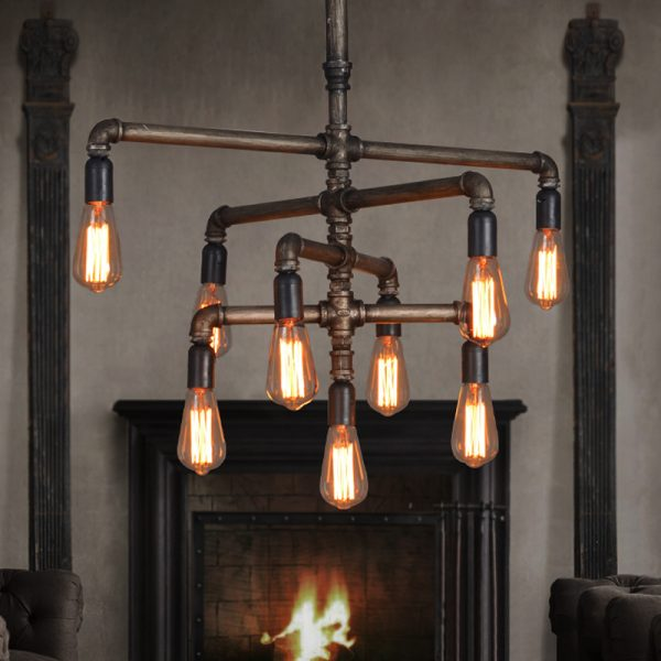 30 industrial style lighting fixtures to help you achieve for Pipe ceiling lighting