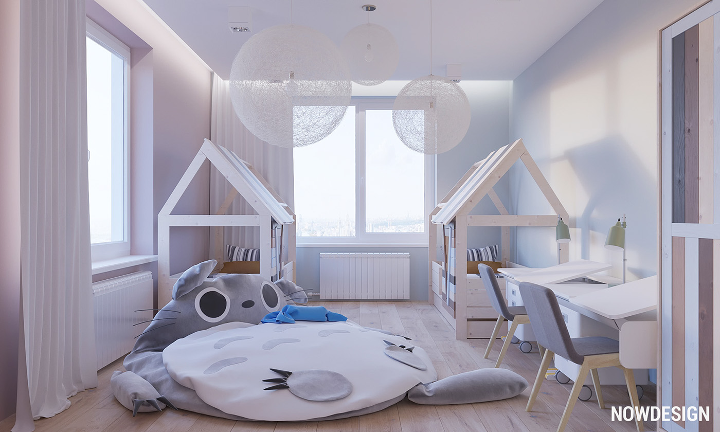 Sibling Bedroom For Children - 3 modern minimalist apartments for young families
