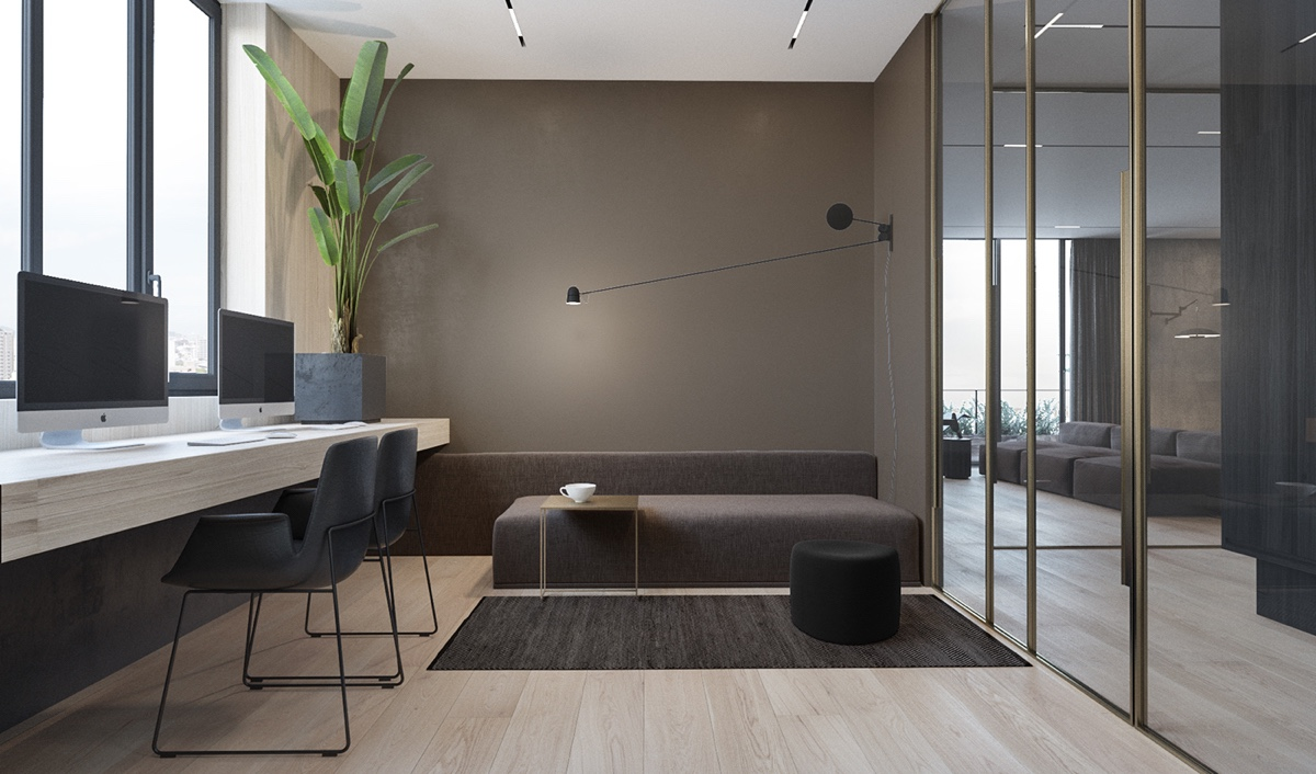 Study Seating Area - 3 modern minimalist apartments for young families