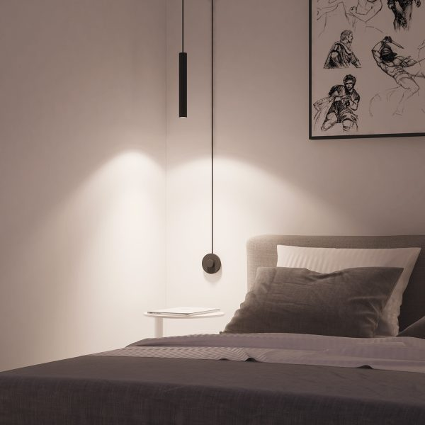 Captivating BUY IT · Black Cylindrical Bedroom Pendant: ...