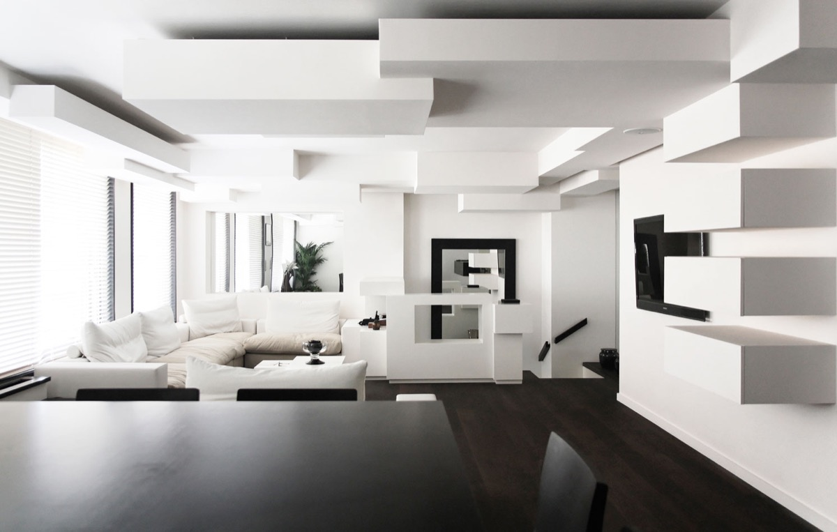 White Living Room Ideas Geometric Ceiling Wall Shelf Dining Table White Couches Tv Windows Blinds - 30 black white living rooms that work their monochrome magic
