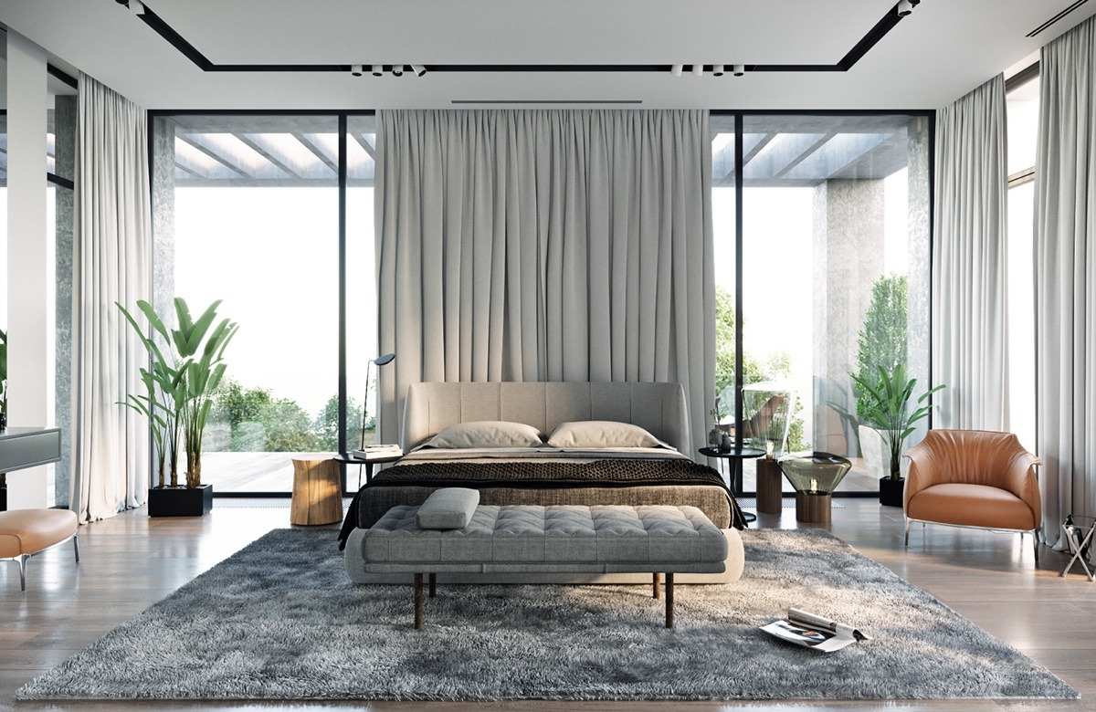 Gray Bedroom With Indoor Plants - A modern residence with simple details outside of moscow