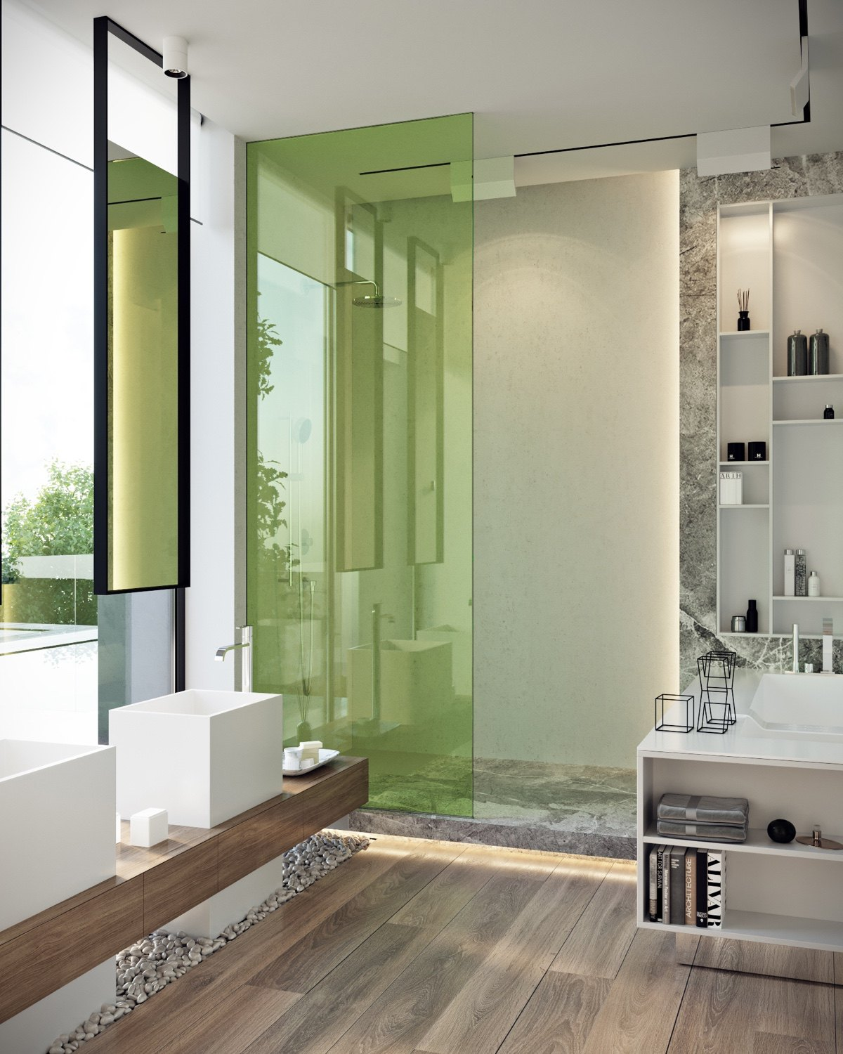 Green Bathroom - A modern residence with simple details outside of moscow