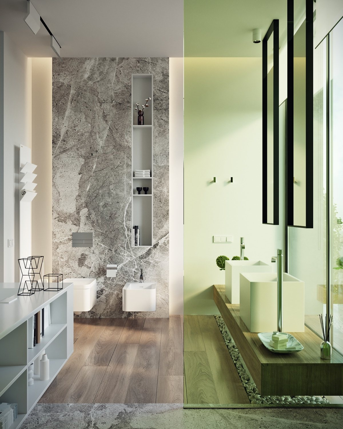 Light Green Bathroom - A modern residence with simple details outside of moscow