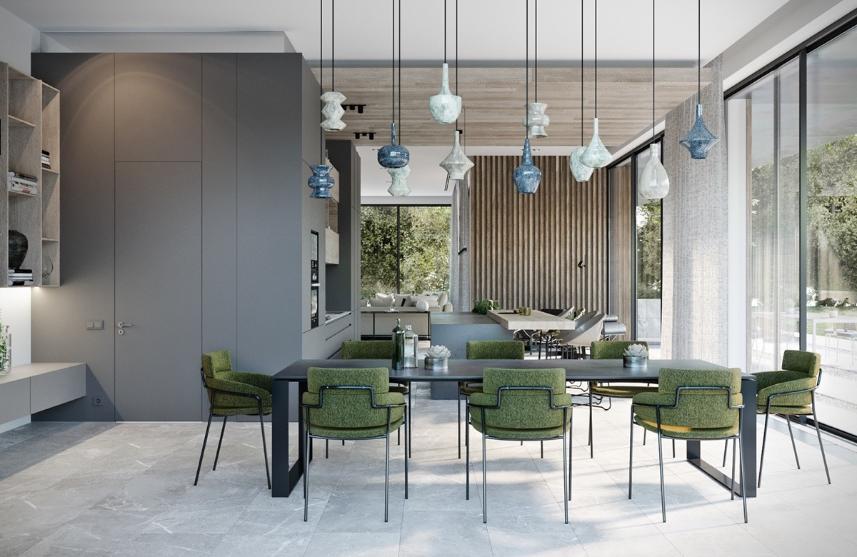 Creative Dining Pendants - A modern residence with simple details outside of moscow