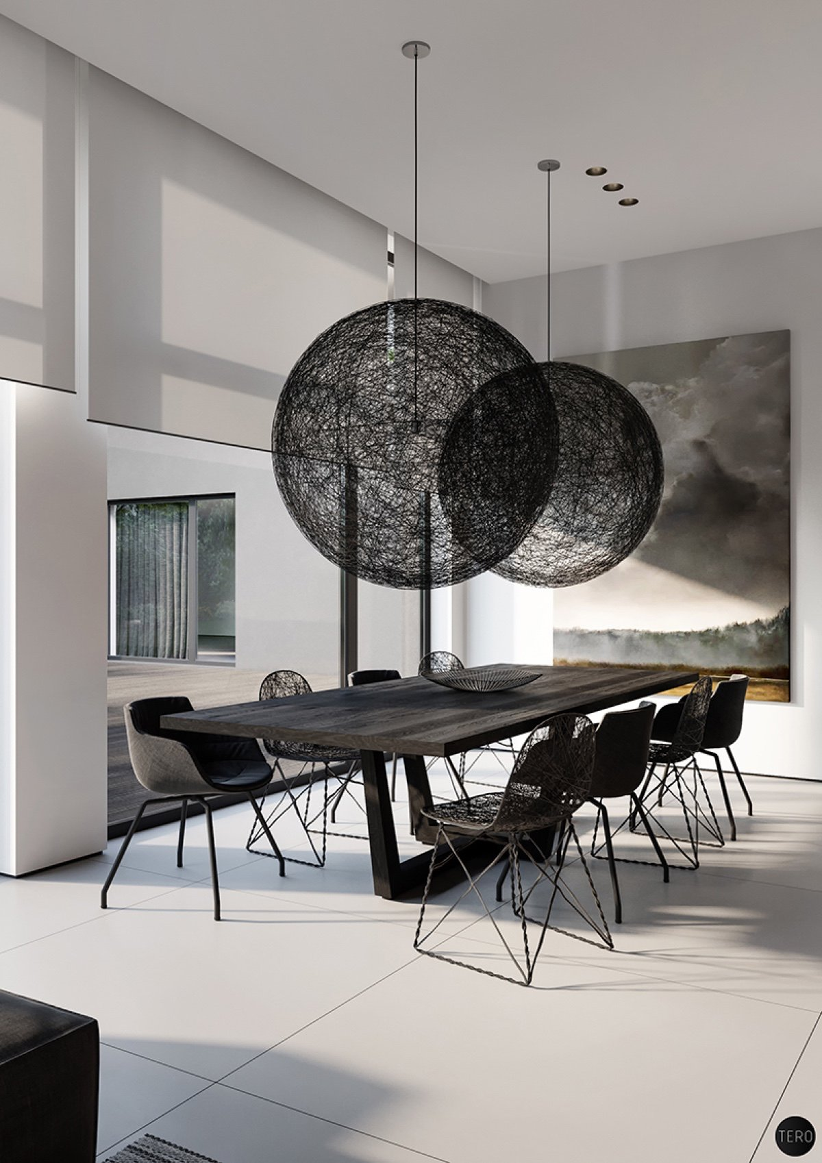 30 black white dining rooms that work their monochrome magic for Abstract art for dining room