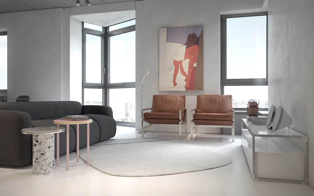 Abstract Wall Art Modern Living Room - 3 fabulously sleek studio apartments that are timeless