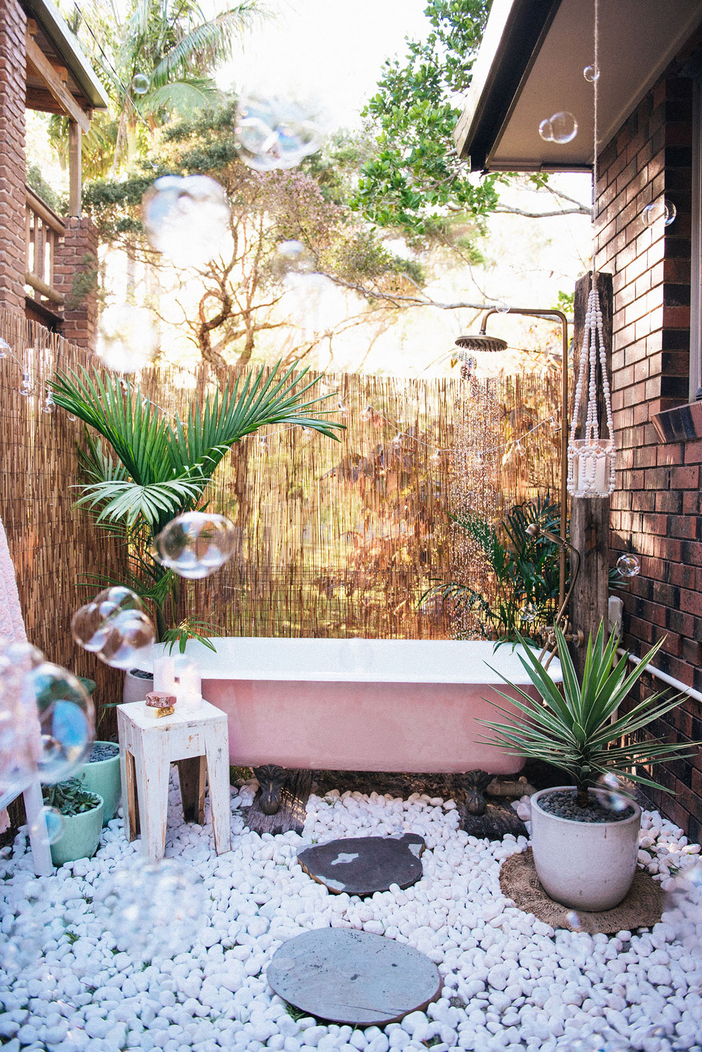 Bath Among Pebbles Outside Shower Ideas - 50 stunning outdoor shower spaces that take you to urban paradise