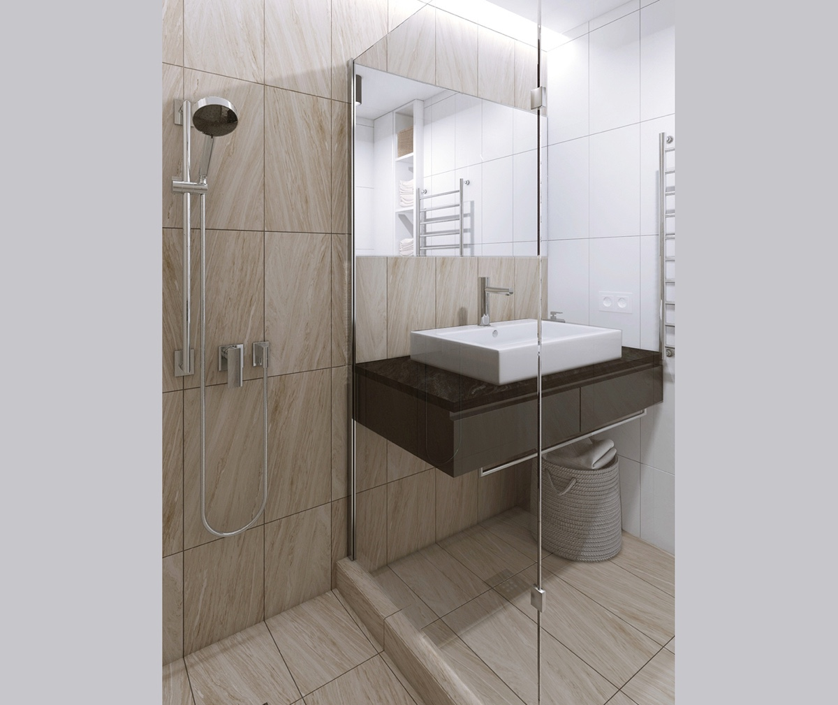 Apartment Bathroom Tiles Apartment: HOME DESIGNING: Relaxing Color Schemes In 3 Efficient Single-Bedroom Apartments [With Floor